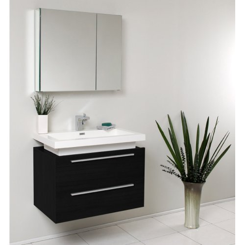 Fresca Medio 31-in. Modern Single Bathroom Vanity & Medicine Cabinet FVN8080BW