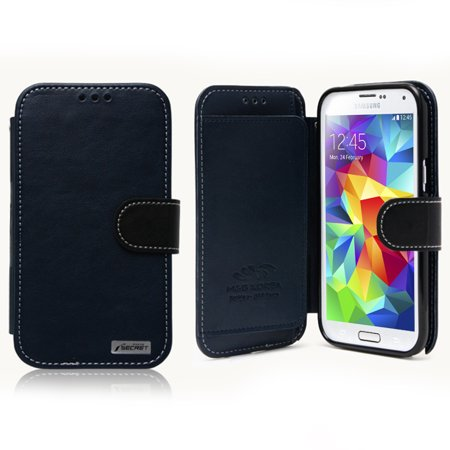 [Nodea] Navy Black Secret Diary Series Samsung Galaxy S5 Wallet Case; Best Design with Coolest Premium [PU/Faux Leather] with Stand Feature and Magnetic Flap