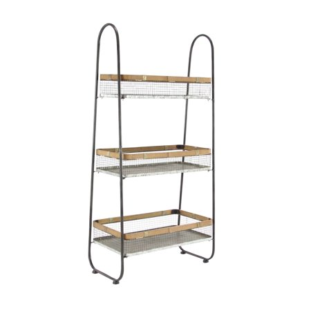 Decmode Iron 3 Tier Basket Stand Brown