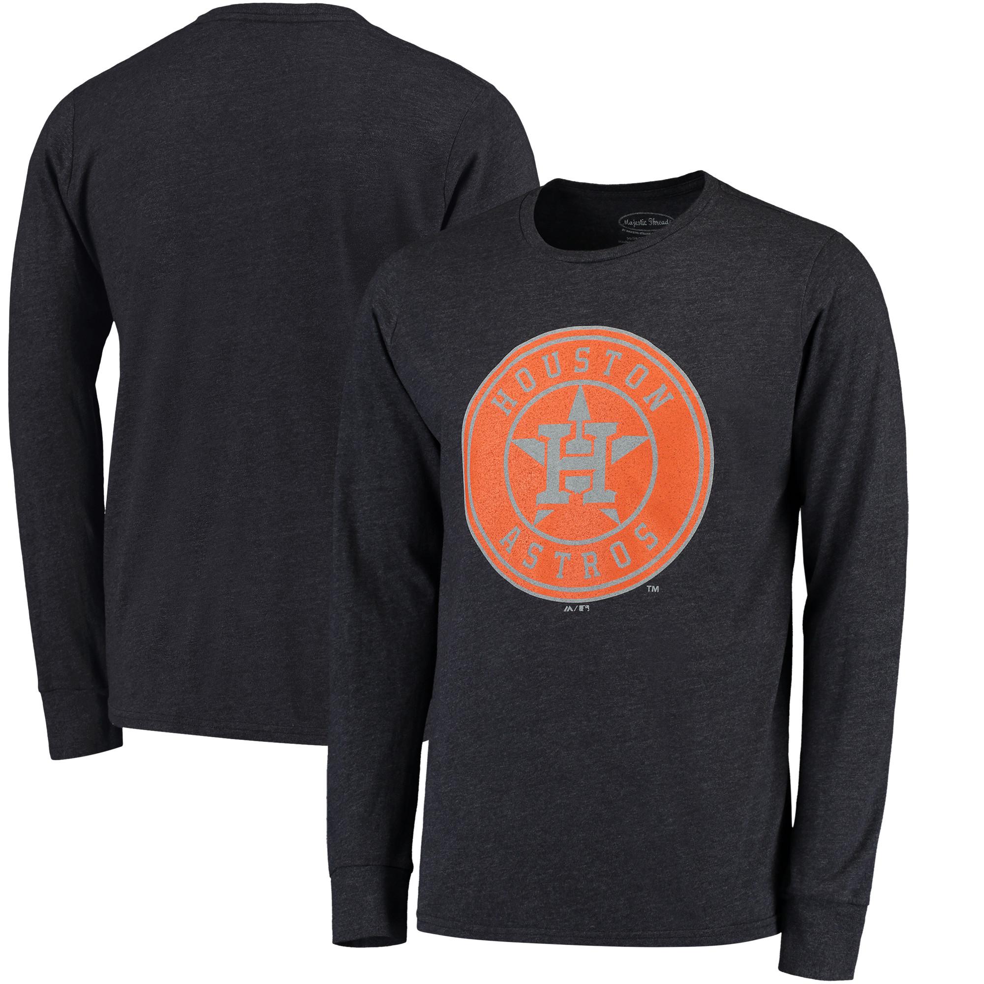 Houston Astros Majestic Threads Tri-Blend Long Sleeve T-Shirt - Navy