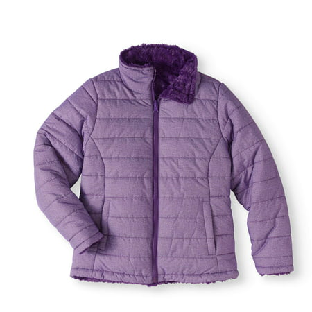 Climate Concepts Girls' Mock Neck Quilted Jacket with Faux Fur Lining - Varsity Jacket For Girl