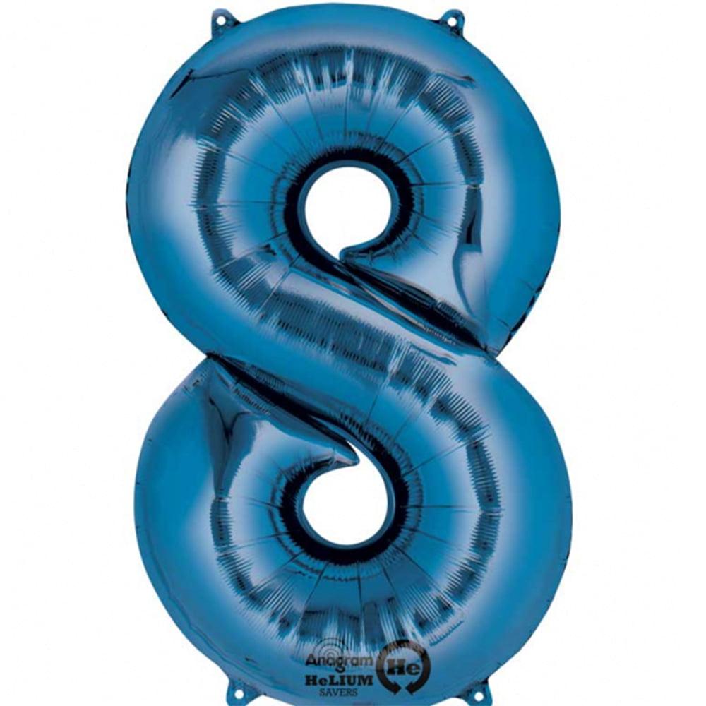 Mayflower Distributing 63711 34 inch 8 BLUE NUMBER SHAPE BALLOON -PKG