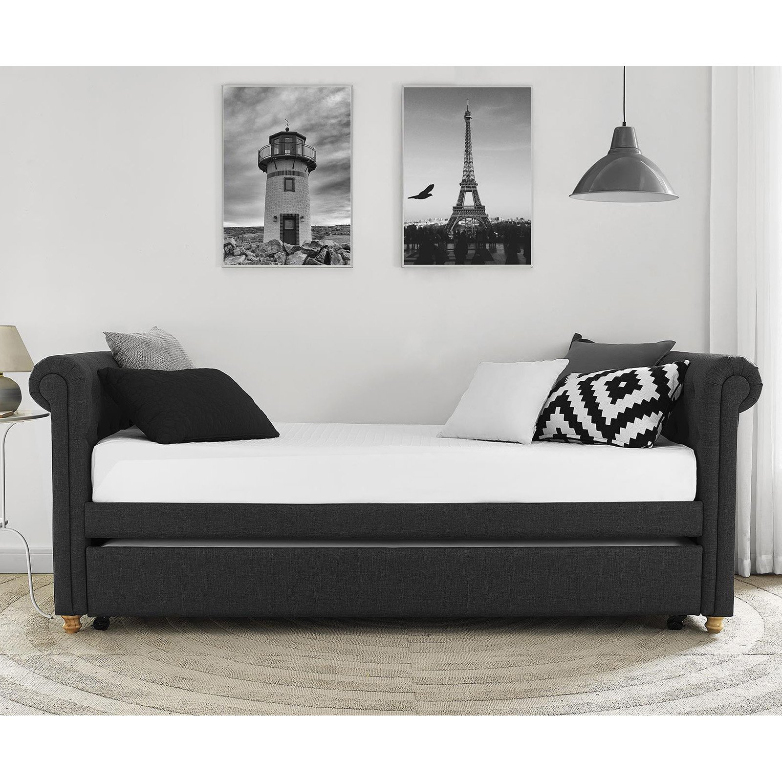 DHP Sophia Upholstered Day Bed and Trundle, Multiple Colors by Dorel Home Products