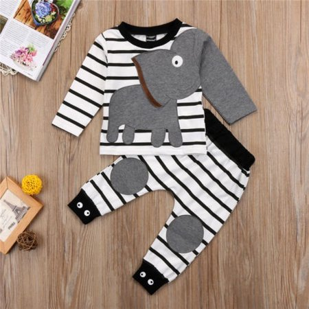 Fashion Adorable Striped Elephant Suit Baby Boy Girl Elephant Outfit Long Sleeve Tops Sweatshirt + Pants Clothes](Elephant Suit)