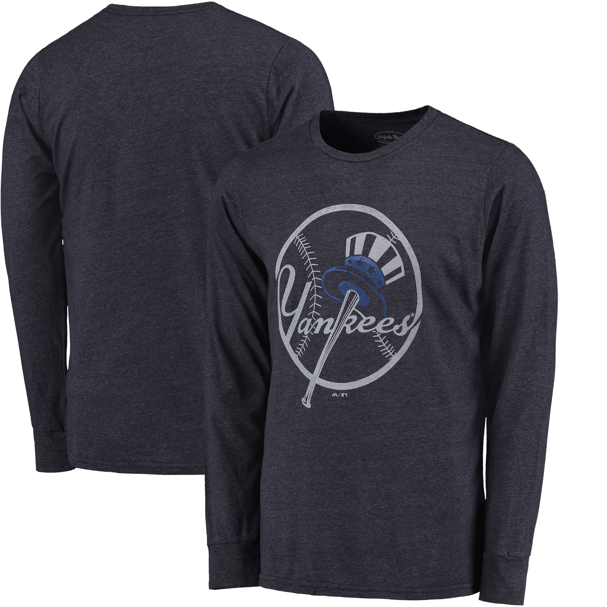 New York Yankees Majestic Threads Tri-Blend Long Sleeve T-Shirt - Navy - XXL