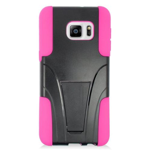 Insten Hard Dual Layer Plastic Silicone Case with stand For Samsung Galaxy S6 Edge Plus - Hot Pink
