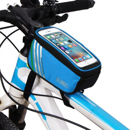 Redcolourful Bicycle Top Tube Phone Bag For 4 8  Screen Size  Bike Frame Strap Attachment Mount Blue