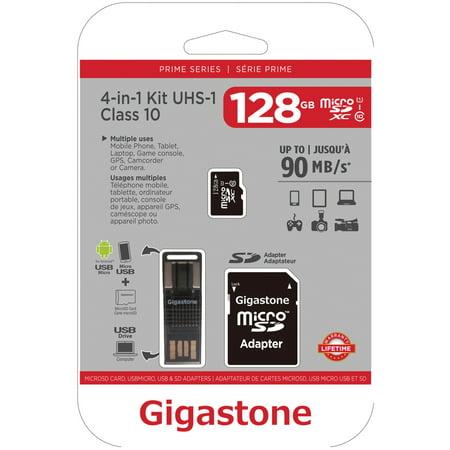 Gigastone GS-4IN1600X128GB-R Prime Series microSD Card 4-in-1 Kit - Kit Microsd
