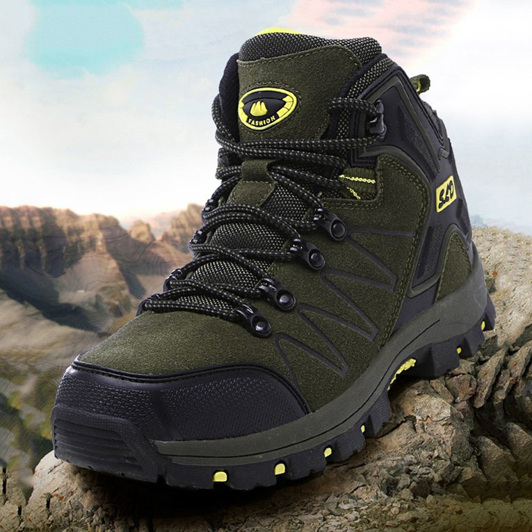 Dark Green Sport Shoes Outdoor Leather Anti-Slip Waterproof Hiking Boots Women Lace-Up... by YKS