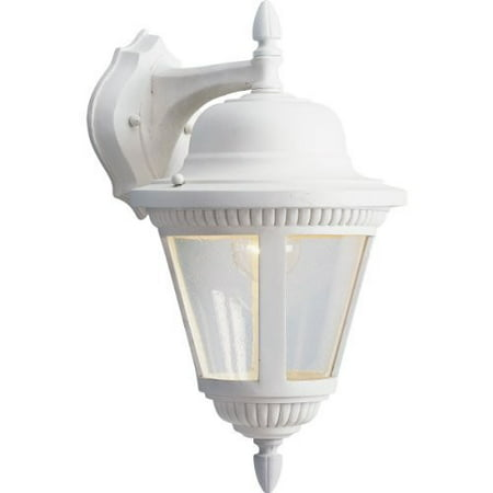 Progress Lighting P5863-30 1-Light Cast Wall Lantern with Clear Seeded Glass, White [White]