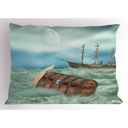 Fantasy Pillow Sham Antique Old Trunk in Ocean Waves with Magic Bird Pirate Boat Picture, Decorative Standard Size Printed Pillowcase, 26 X 20 Inches, Mint Green Pale Caramel, by Ambesonne