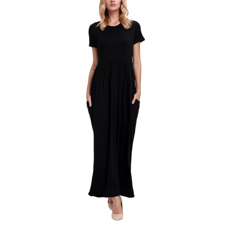 Women Long Maxi Dresses Casual Plus Size Fashion Shirt Dresses Online Baggy Sundress Short Sleeve Loose (Buy 1920's Dresses Online)