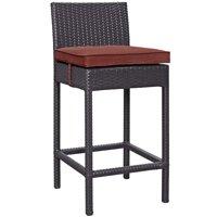 Modern Contemporary Urban Design Outdoor Patio Balcony Garden Furniture Bar Side Stool Chair, Rattan Wicker, Red