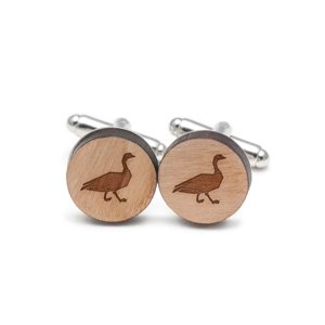 Canada Goose Cufflinks, Wood Cufflinks Hand Made in the USA