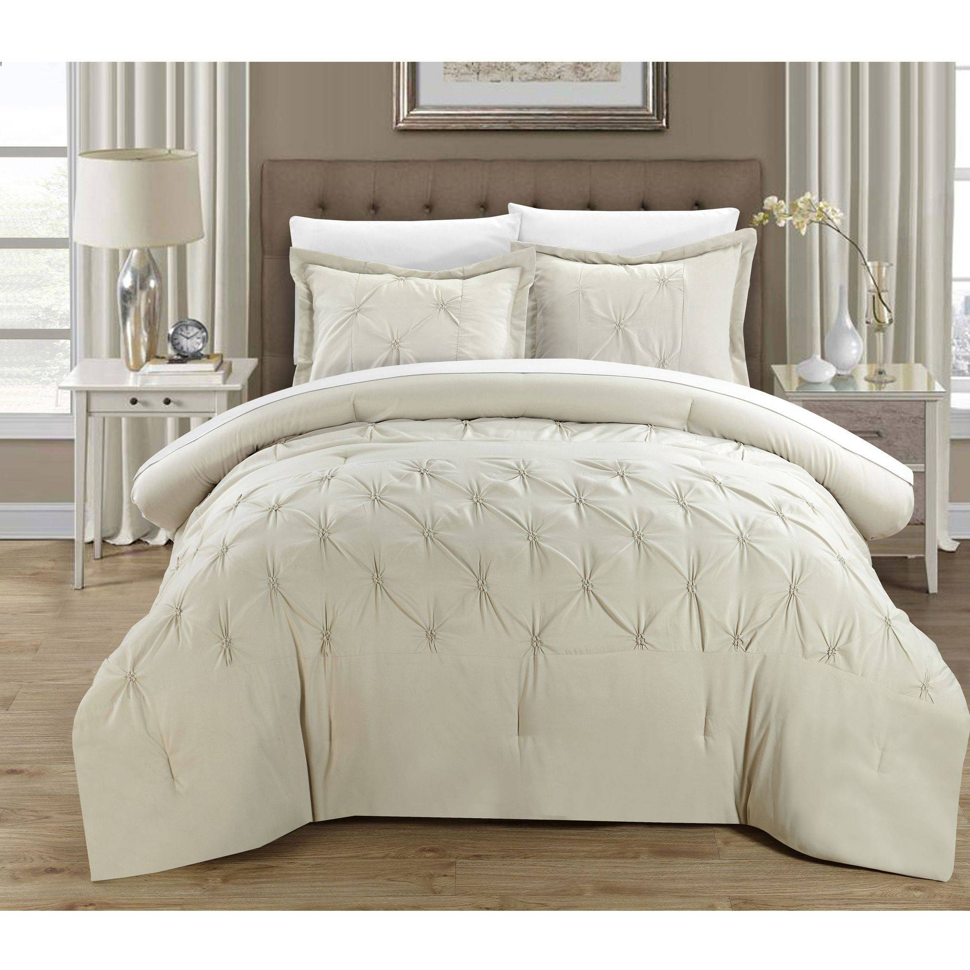 set comforter com piece ruth pin beige queen ruffled silver chic amazon home
