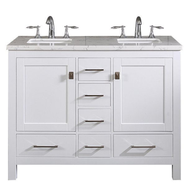 Totti Memphis 44 White Transitional Double Sink Bathroom Vanity W White Carrara Style Man Made Stone Top Walmart Com Walmart Com