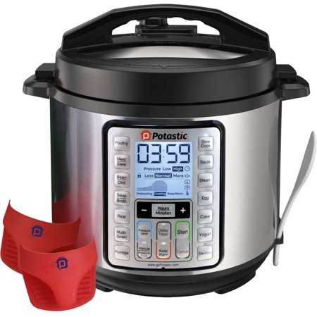 6Qt 10-in-1 Programmable Pressure, LCD Display,Instant Cooking with Stainless Steel Pot, Multi, Slow, Rice, Yogurt Maker, Egg Cooker, Saute, Steamer, Warmer