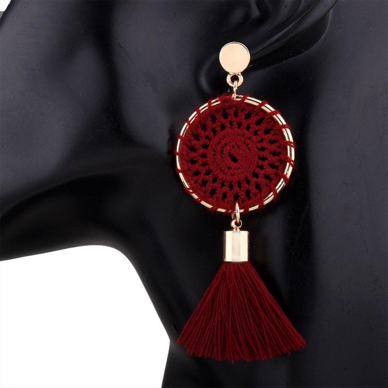 Vintage Women Jewelry Handmade Originality Crochet Wool Tassel Drop Dangle Earrings