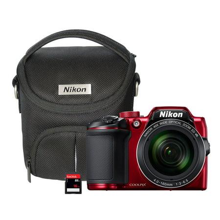 Nikon B500 16MP Digital Camera, Wireless Image Sharing, Case, 16GB SD Card, Red (Digital Camera Case Nikon)