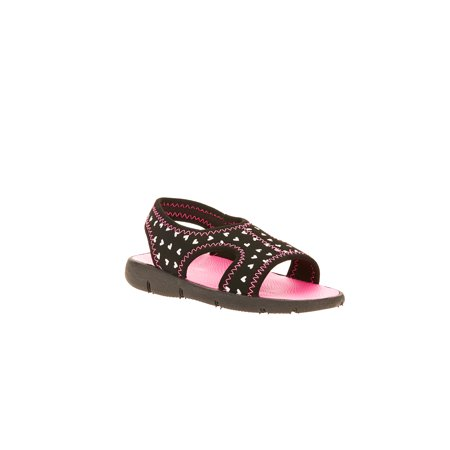 Wonder Nation Girls' Heart Strap Sandal - Girls Jeweled Sandals