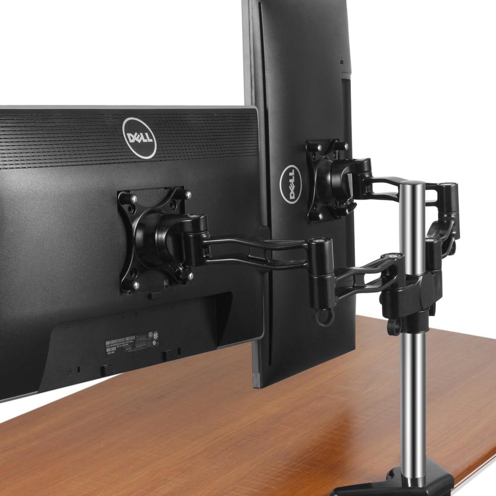 Dual Monitor Stand Mount Arm Desk Riser W Vesa Bracket Fully Adjule For Computer Flat Screen Lcd Display 10 27 Motion