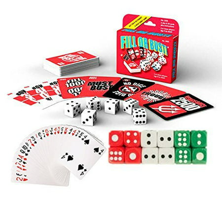 THREE PACK - POPULAR Players Favorite Fill Or Bust Card And Dice Game 3 Piece COMBO Play Set - With 12 Multi Colored Casino Dice & Deck Deck Of Plastic Coated Playing Cards - All In One Family Fun (Best Three Player Card Games)