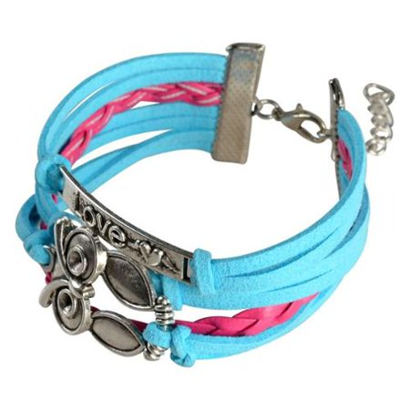 Zodaca 7 to 9 inch Adjustable Baby Blue Hot Pink Braided Velvet and Leather Cord Bracelet with Silver Owl Design