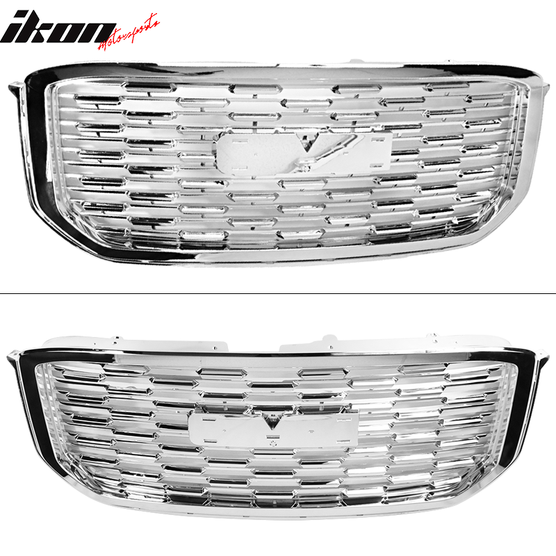 Denali Style Front Grille Grill Guard Replacement ABS Black by IKON MOTORSPORTS Grille Compatible With 2015-2019 GMC Yukon XL