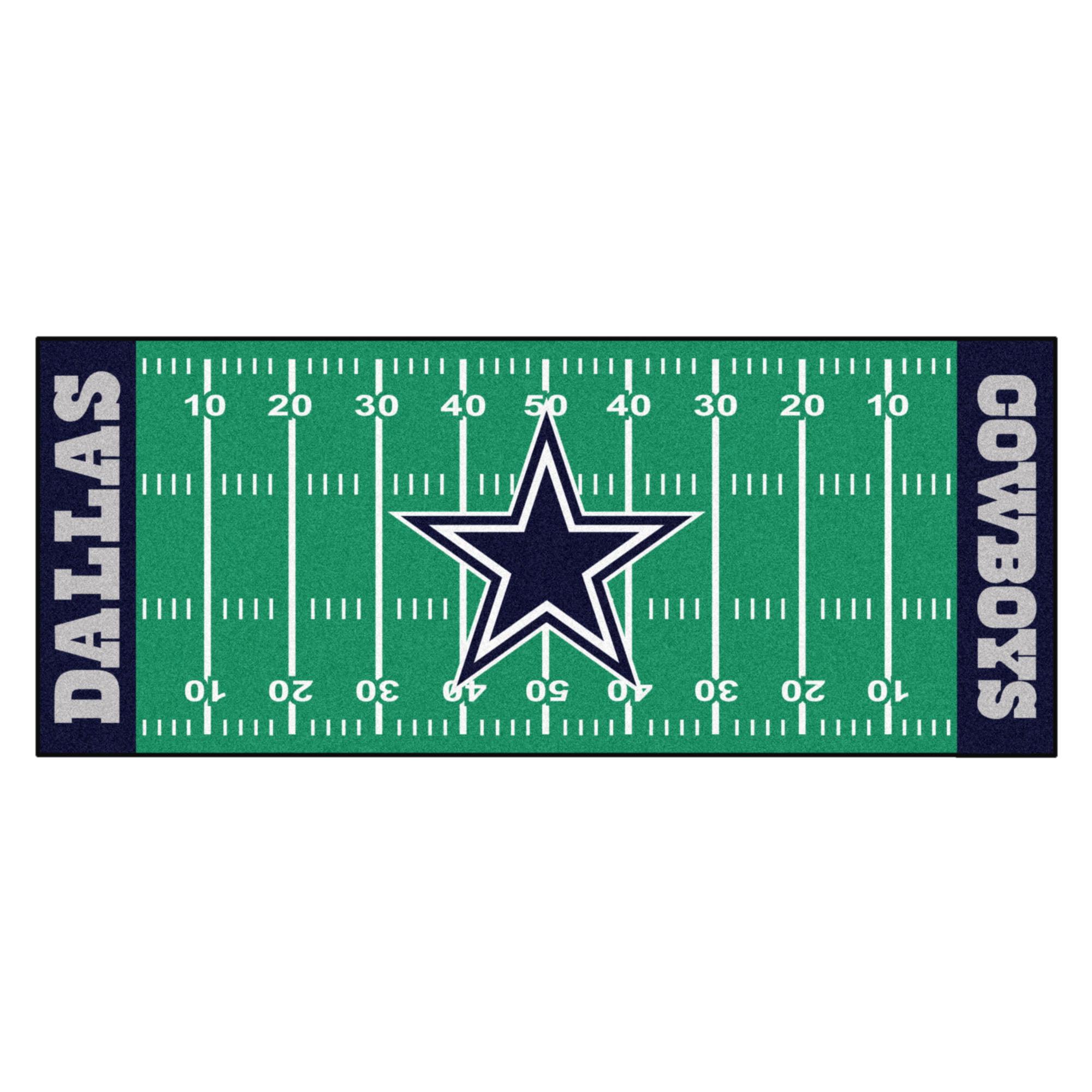 NFL Dallas Cowboys Football Field Runner Mat Area Rug