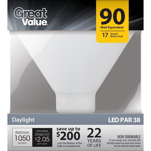 Great Value LED Light Bulb 17W (90W Equivalent) P38 (E26), Daylight