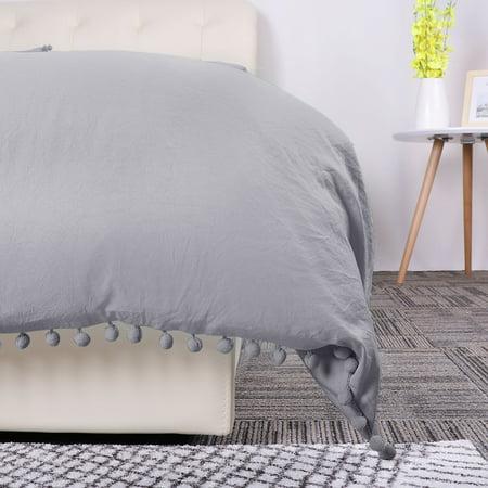 Pompons Duvet Cover and Sham Set King Size Bedding Soft Washed Cotton, Gray - image 2 de 8