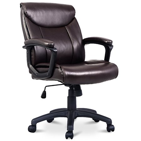 - Costway Ergonomic PU Leather Mid-Back Executive Computer Desk Task Office Chair Brown