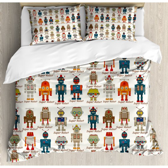Kids Queen Size Duvet Cover Set Various Diffe Super Robot Figures In Cartoon Style Fantasy Futuristic Machine Decorative 3 Piece Bedding With