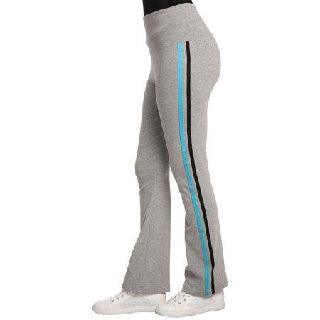 Sweet Vibes Womens Stretch Rib Sweatpants High Waist Contrast Color Seam Stripes