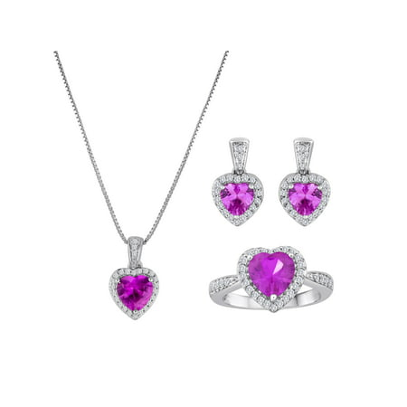 Brass Set Pendant (Lab-Created Pink Sapphire and CZ Fine Silver-Plated Brass Boxed Set with Earring, Ring and Pendant,)