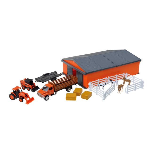 New-Ray Toys Kubota Farm Vehicles with Machine Shed Set by New-ray Toys