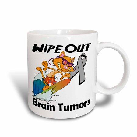 3dRose Wipe Out Brain Tumors Awareness Ribbon Cause Design, Ceramic Mug, 15-ounce - Brain Tumor Awareness Ribbon
