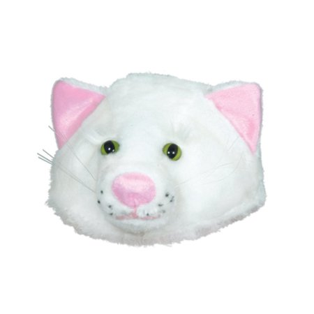 Club Pack of 12 Plush White Cat Head Halloween Costume Hat Accessories - One Size Fits Most Adults (Club Halloween Photos)