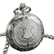 ESS See Through Mechanical Men Pocket Watch Full Hunter Hand Winding Silver Case