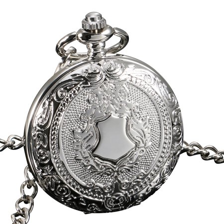 ESS See Through Mechanical Men Pocket Watch Full Hunter Hand Winding Silver Case