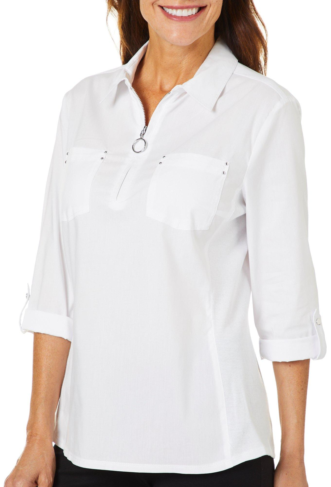 Zac /& Rachel Petite Ultimate Fit Button Front Top WHITE