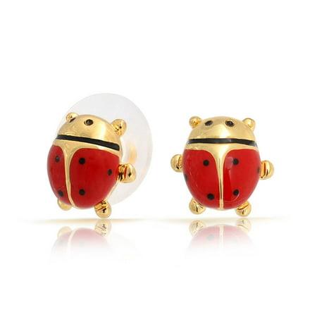 Gold Plated Enamel Petite Ladybug Stud - Enameled Ladybug