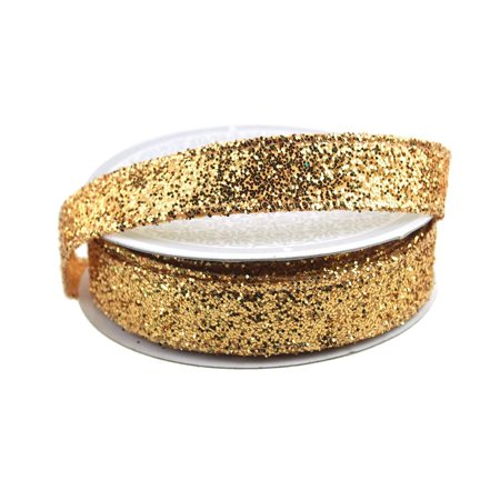 Sparkling Glitter Holiday Christmas Ribbon Wired Edge, 5/8-Inch, 10 Yards, Gold Assorted Holiday Wired Ribbon