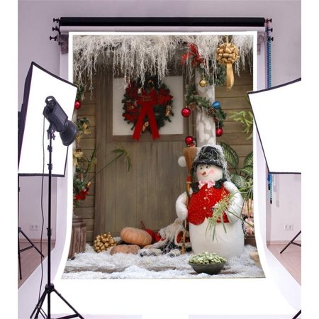 greendecor polyester 5x7ft photography background rustic rural front door wood house christmas decorations lovely snowman broom - Christmas Broom Decoration
