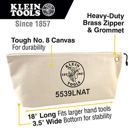 Klein Tools-5539LNAT Zipper Canvas Tool Bag, Natural Klein Tools Canvas Zipper Bag