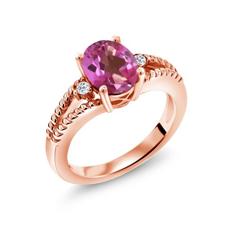 1.85 Ct Oval Pink Mystic Topaz White Topaz 18K Rose Gold Plated Silver