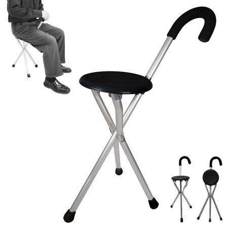 Folding Cane Medical Travel Seat Walking Stick Portable