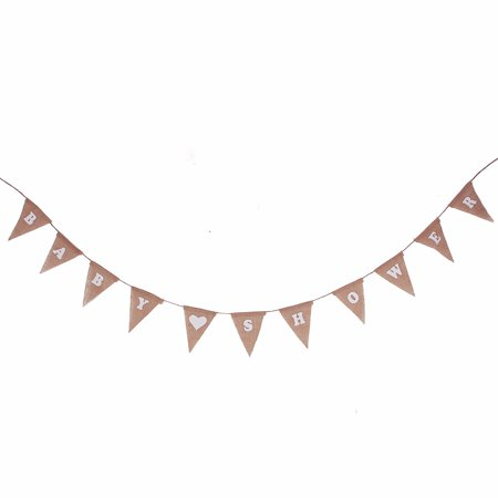 Rustic Shabby BABY SHOWER Hessian Party Dekor Burlap Bunting Jute Flags Banner Party - Bunting Flag Banner