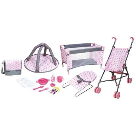 Lissi 5 Piece Baby Doll Deluxe Nursery Play Set w/ 8 Accessories (Doll Stroller Set)