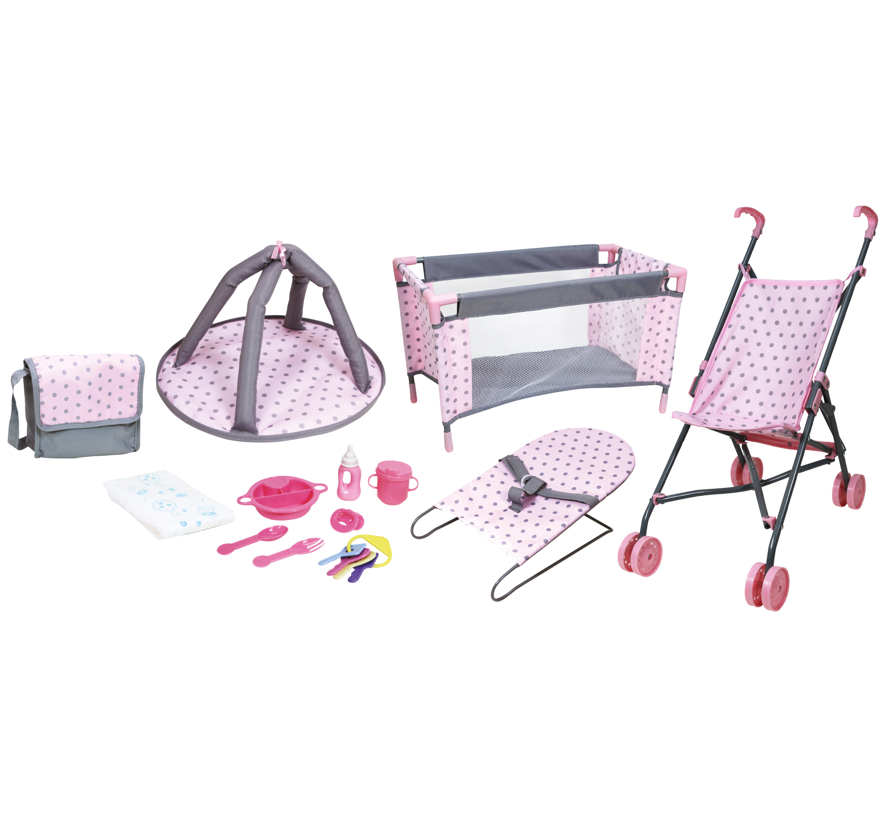 Lissi 5 Piece Baby Doll Deluxe Nursery Play Set w/ 8 Accessories